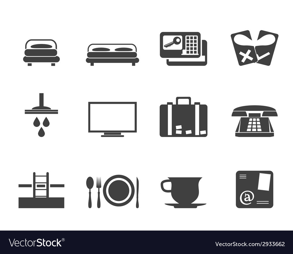 Silhouette hotel and motel icons vector | Price: 1 Credit (USD $1)