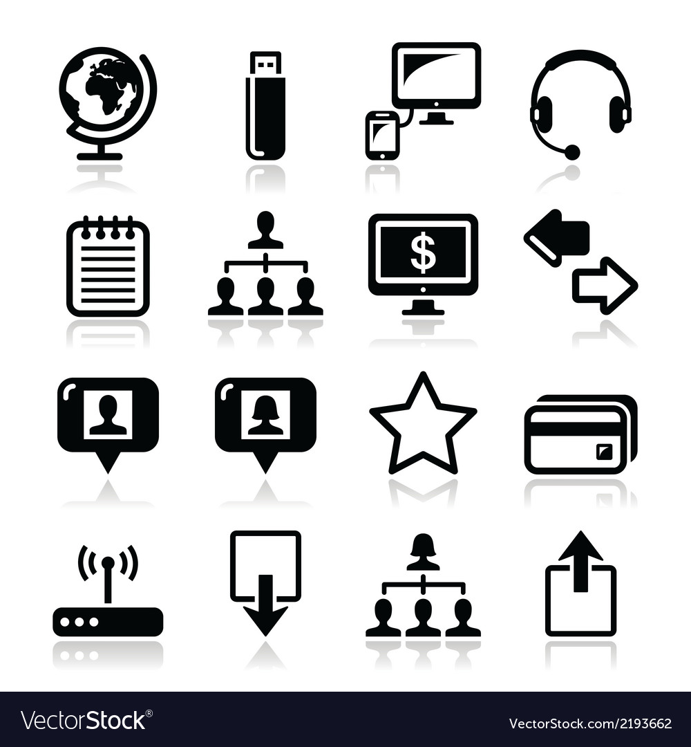 Web internet simple black icons set vector | Price: 1 Credit (USD $1)