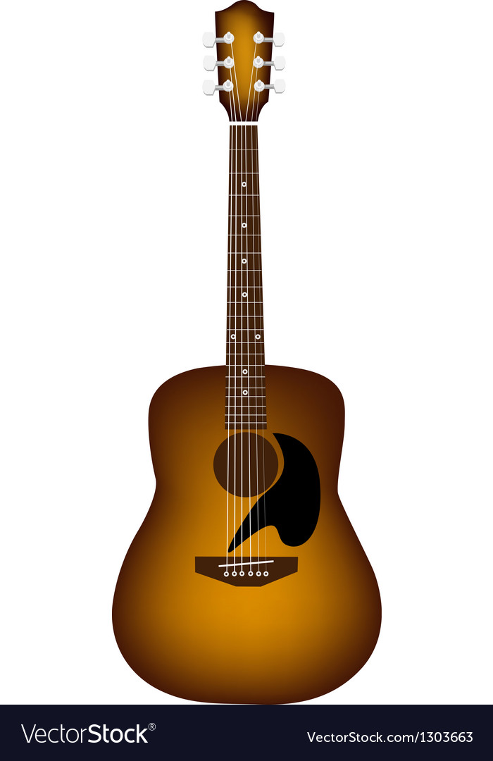A beautiful acoustic guitar on white background vector | Price: 1 Credit (USD $1)