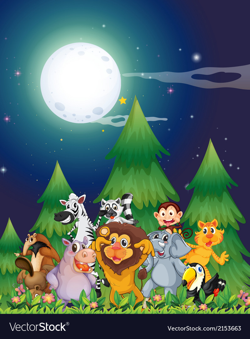 Animals near the pine trees under the bright vector   Price: 3 Credit (USD $3)