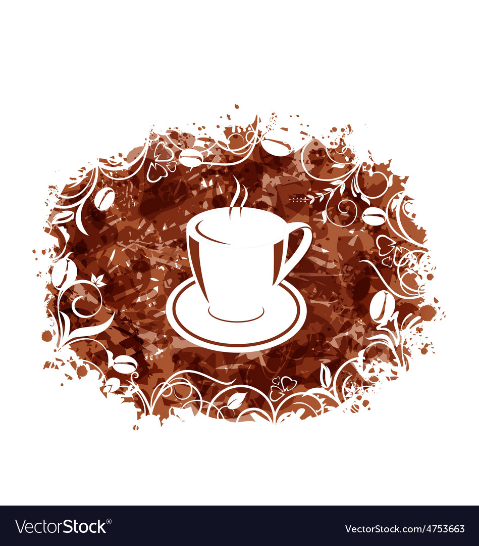 Brown grungy banner with coffee cup and beans vector | Price: 1 Credit (USD $1)