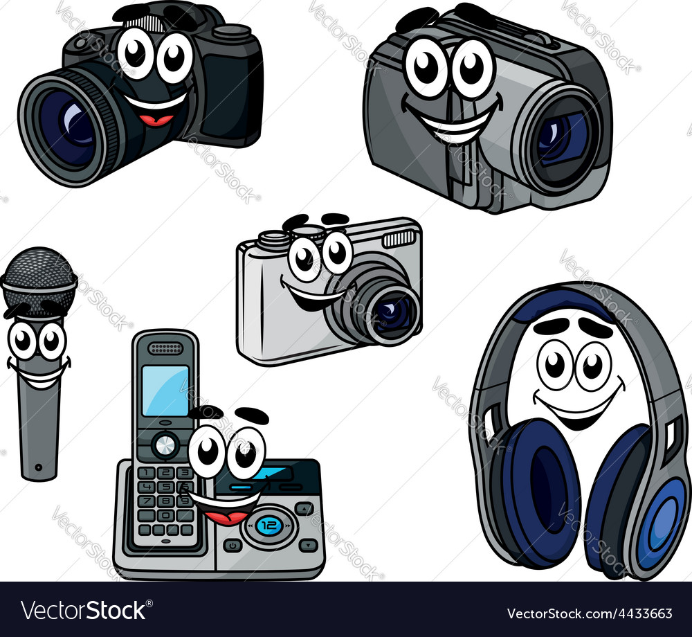 Cartoon cheerful digital devices and gadget vector | Price: 1 Credit (USD $1)