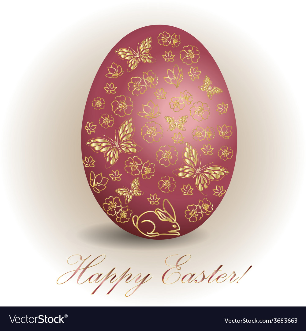 Floral easter egg background vector | Price: 1 Credit (USD $1)