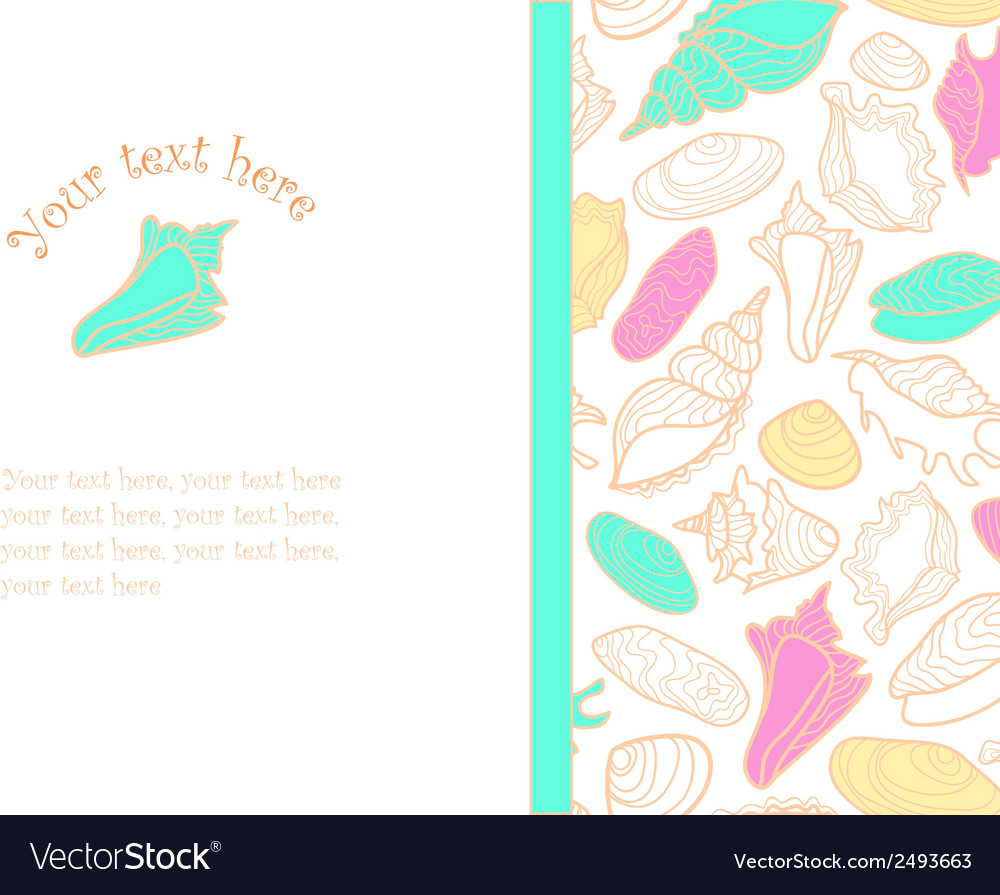 Hand drawn background with cute colorful seashells vector | Price: 1 Credit (USD $1)