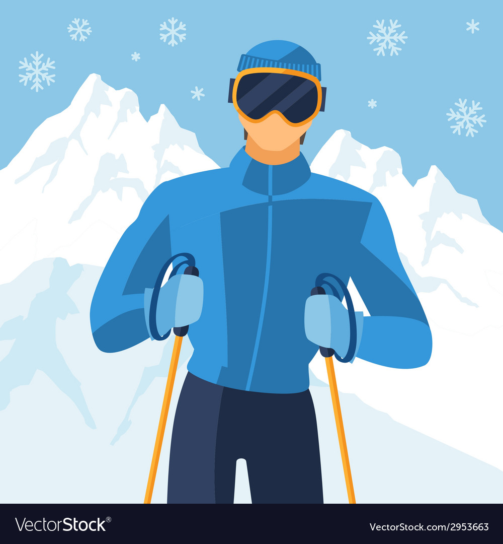 Man skier on mountain winter landscape background vector | Price: 1 Credit (USD $1)
