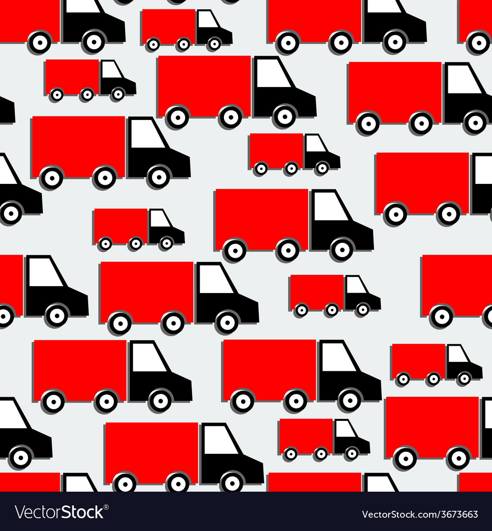 Red trucks seamless pattern bakground with cars in vector | Price: 1 Credit (USD $1)