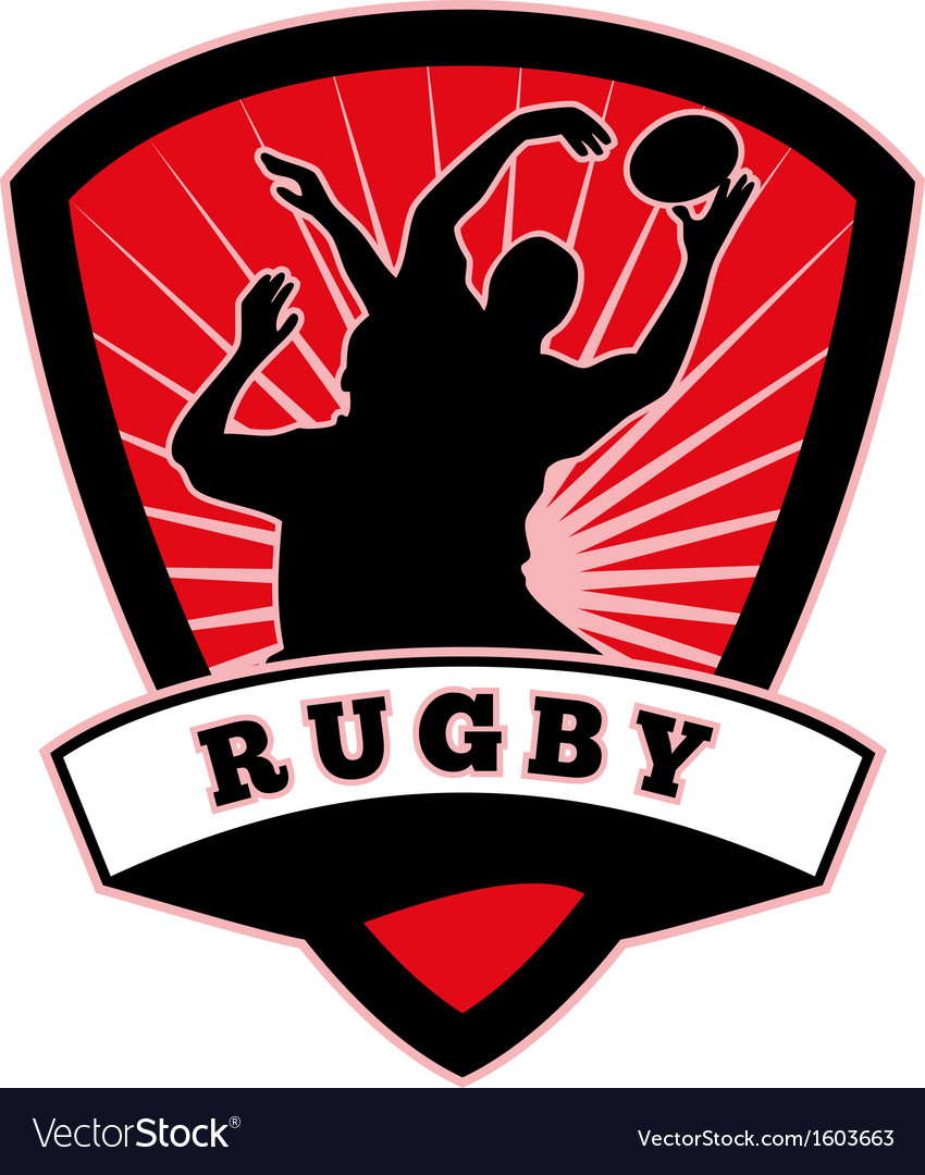 Rugby player lineout catch shield vector | Price: 1 Credit (USD $1)