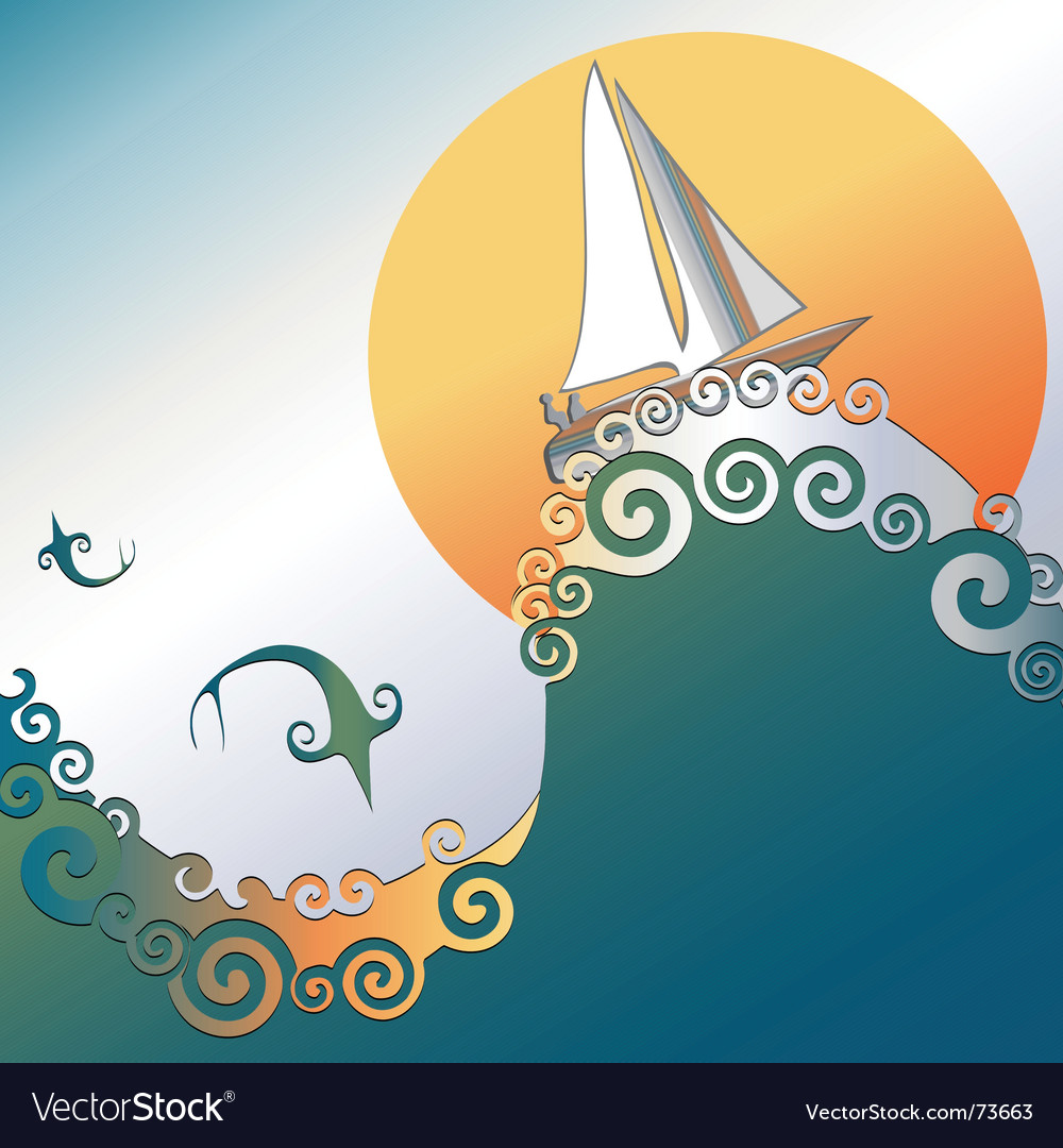 Sailboat in ocean vector | Price: 1 Credit (USD $1)