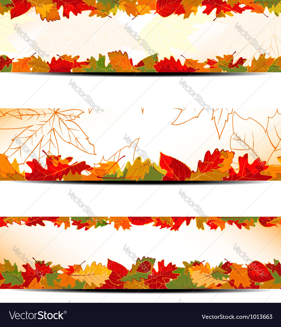 Set of colorful autumn leaves banner vector | Price:  Credit (USD $)