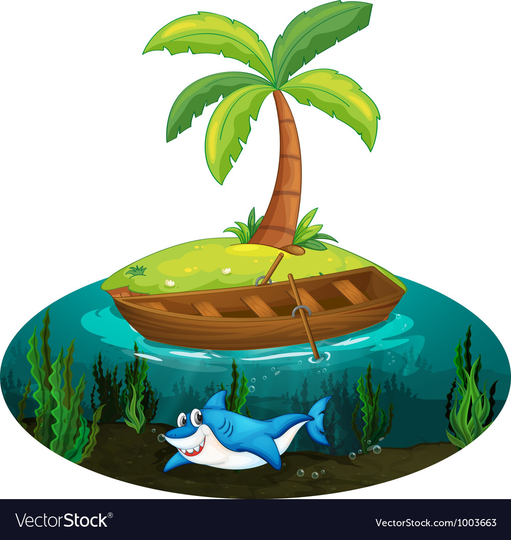 Shark and island vector | Price: 3 Credit (USD $3)