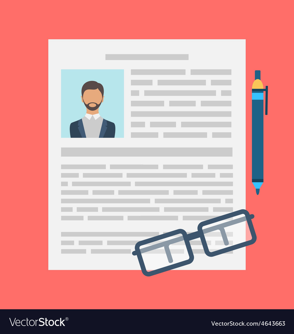 Writing a business cv resume concept vector | Price: 1 Credit (USD $1)