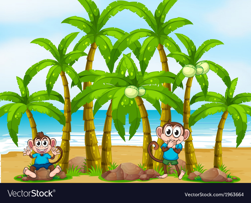 A beach with tall coconut trees and playful vector | Price: 3 Credit (USD $3)