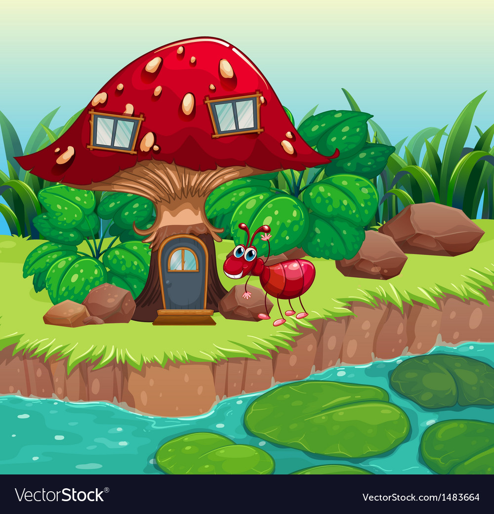 An ant near the red mushroom house vector | Price: 1 Credit (USD $1)