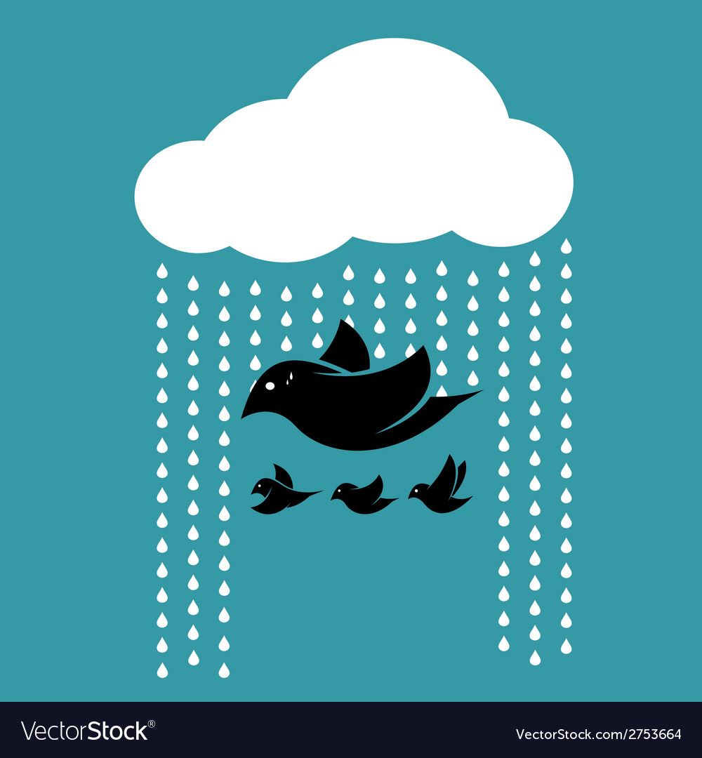 Birds flying in the sky when it rains vector | Price: 1 Credit (USD $1)