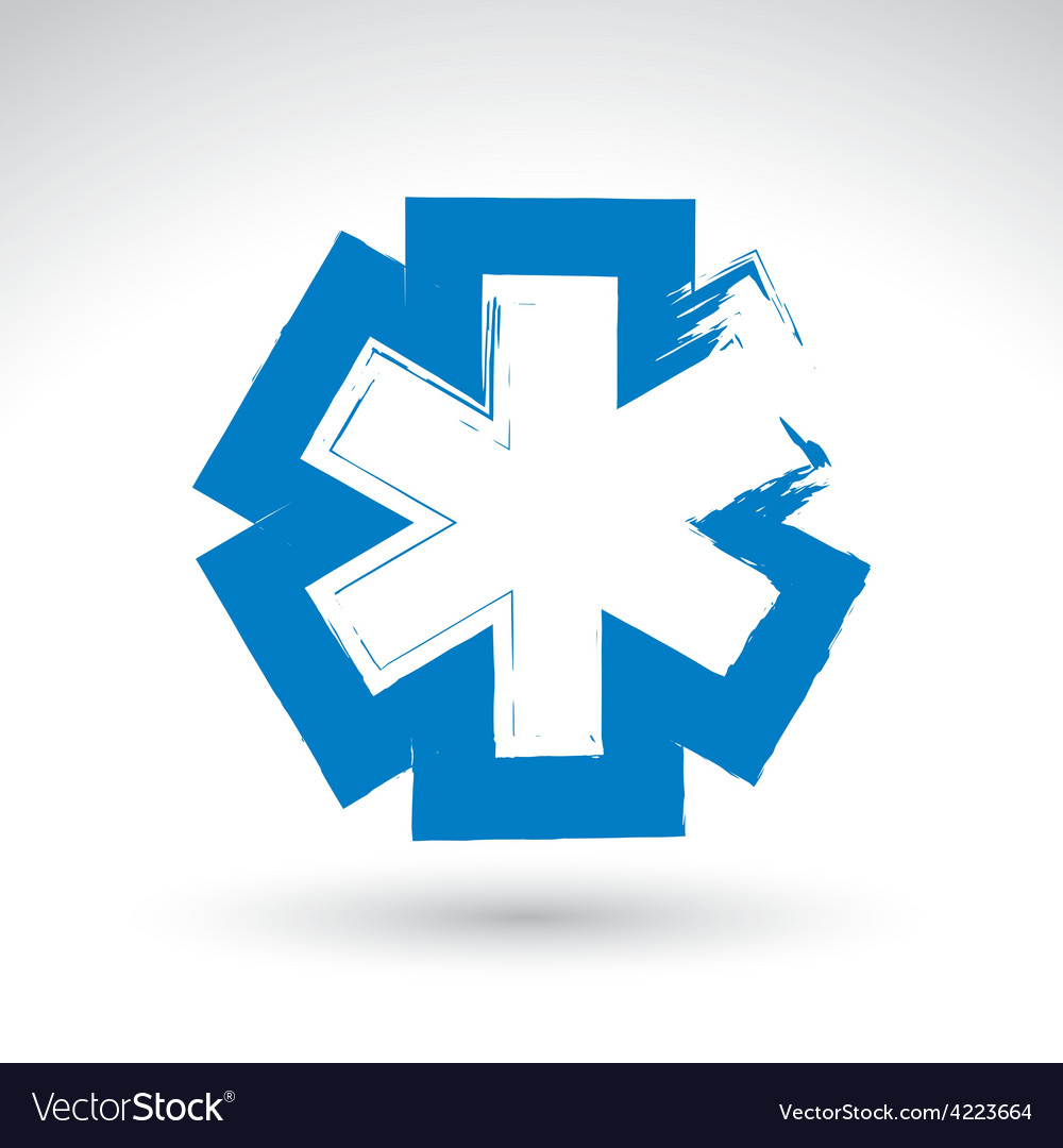 Brush drawing simple blue ambulance symbol vector | Price: 1 Credit (USD $1)