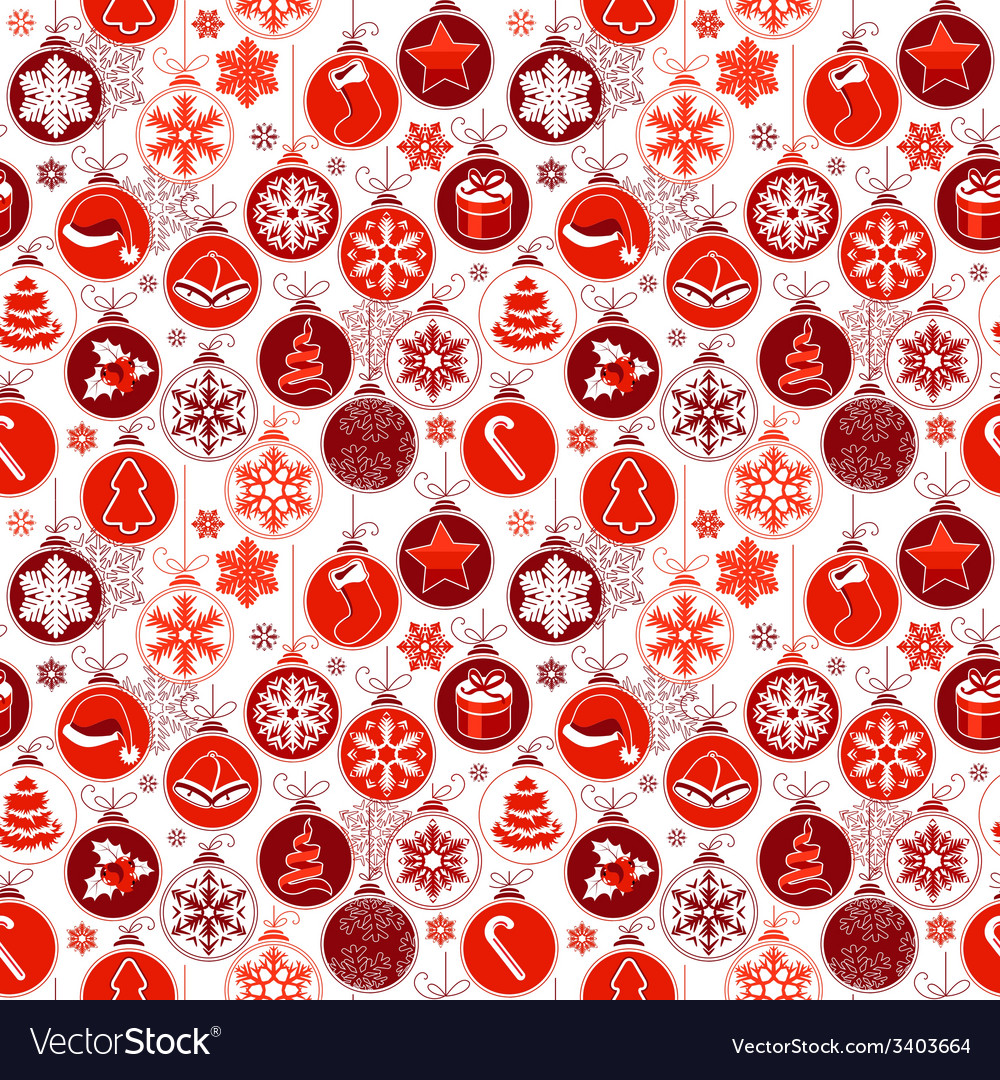 Christmas pattern with vintage balls vector | Price: 1 Credit (USD $1)