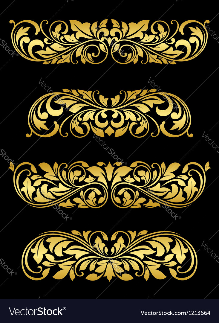 Golden floral elements and embellishments vector | Price: 1 Credit (USD $1)