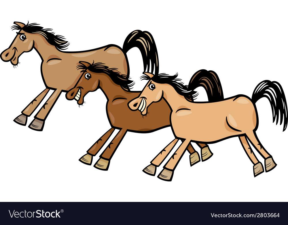 Horses or mustangs cartoon vector | Price: 1 Credit (USD $1)