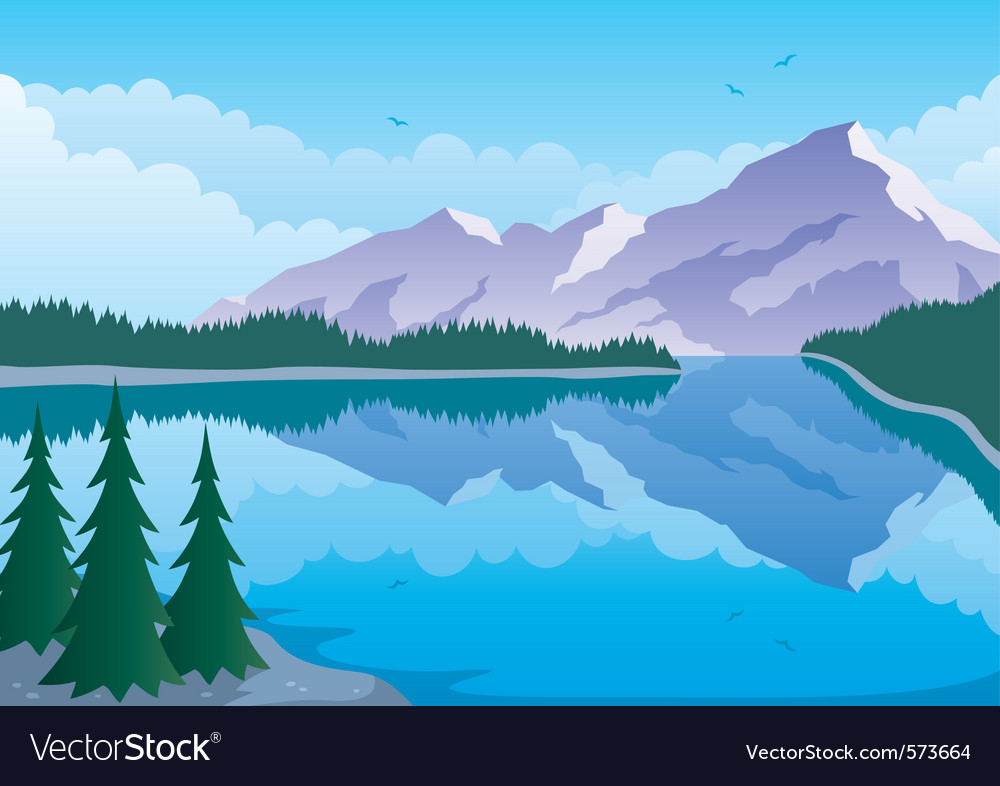 Mountain lake vector | Price: 1 Credit (USD $1)