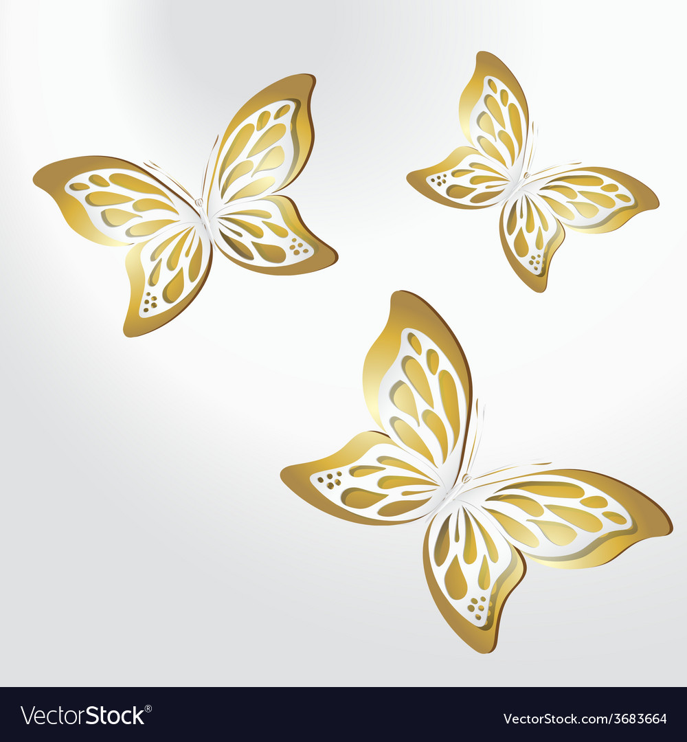 Paper lace butterfly on gold background vector | Price: 1 Credit (USD $1)