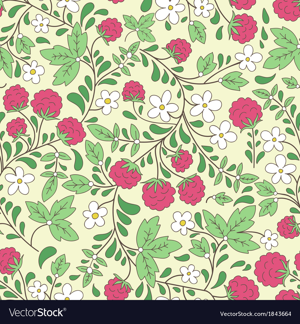 Raspberry and green leaves vector | Price: 1 Credit (USD $1)