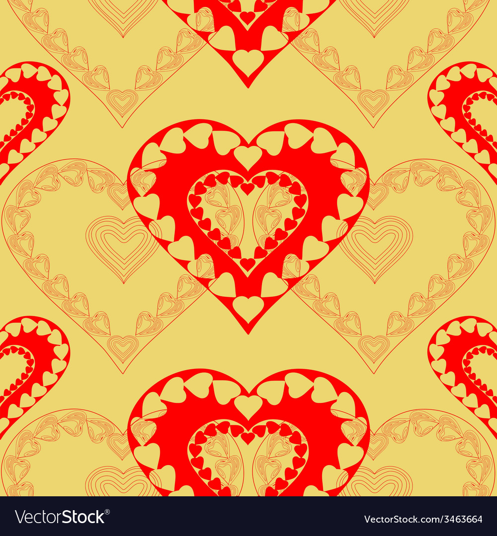 Valentines day red hearts seamless texture vector | Price: 1 Credit (USD $1)