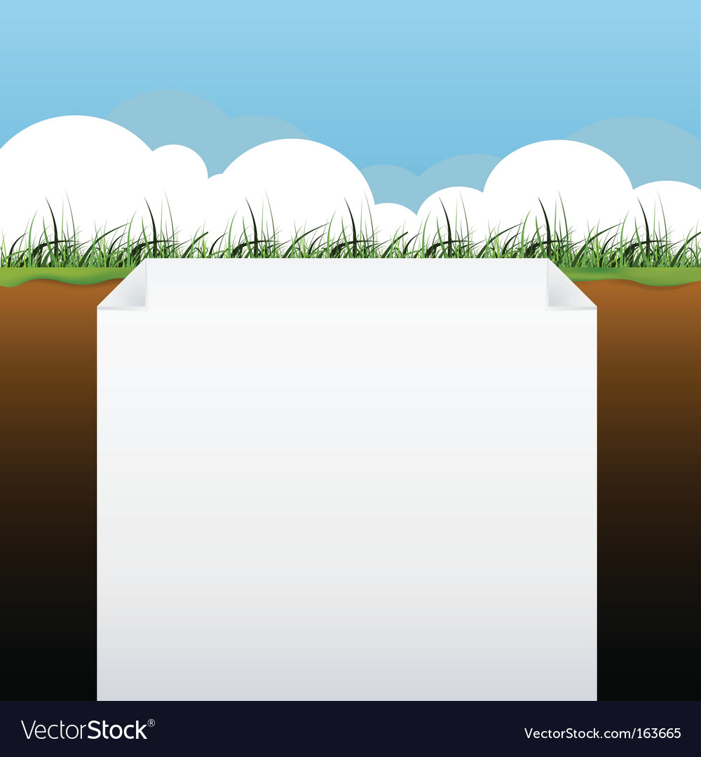 Blank page with grass banner vector | Price: 1 Credit (USD $1)