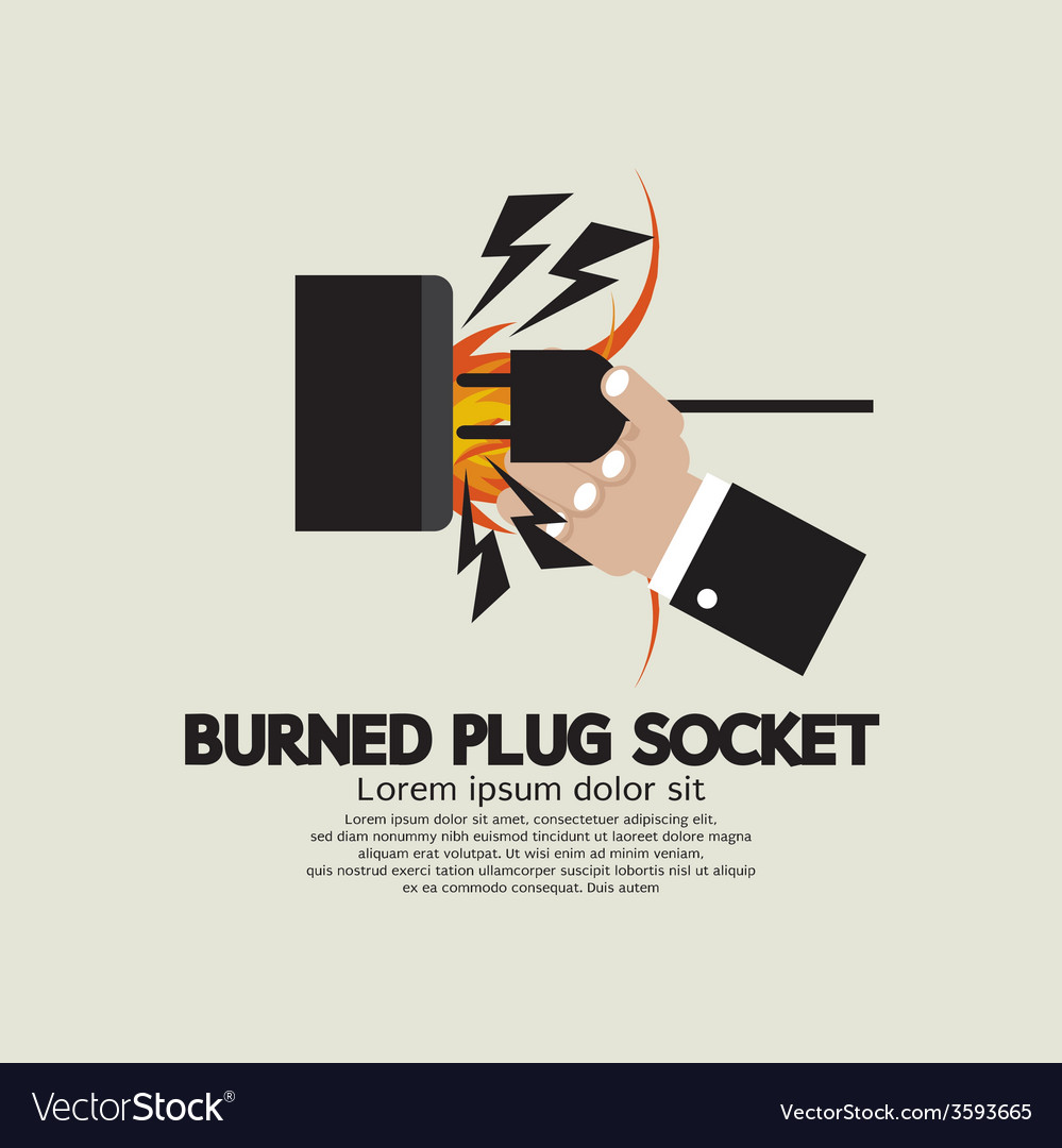 Burned plug socket in hand vector | Price: 1 Credit (USD $1)