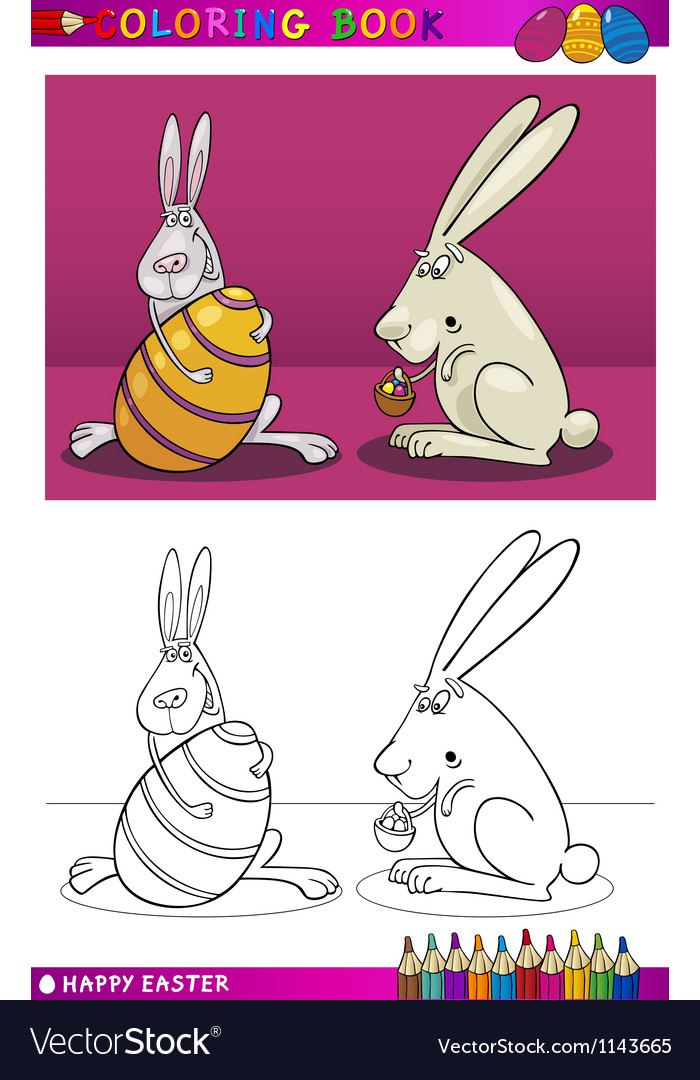 Easter bunny cartoon for coloring vector | Price: 3 Credit (USD $3)