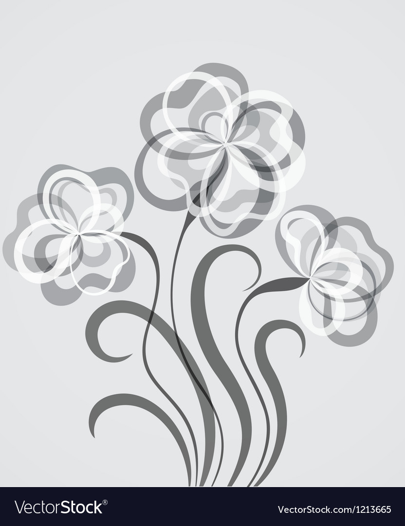 Grayscale eps10 background with abstract flowers vector | Price: 1 Credit (USD $1)