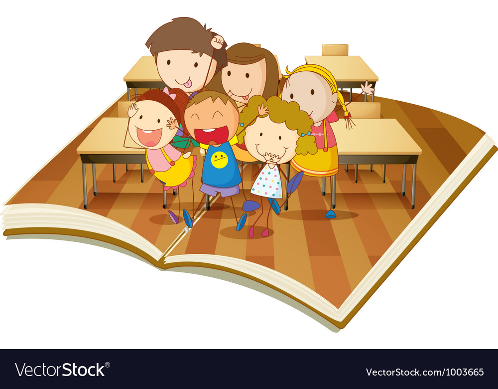 Pop up book classroom vector | Price: 3 Credit (USD $3)