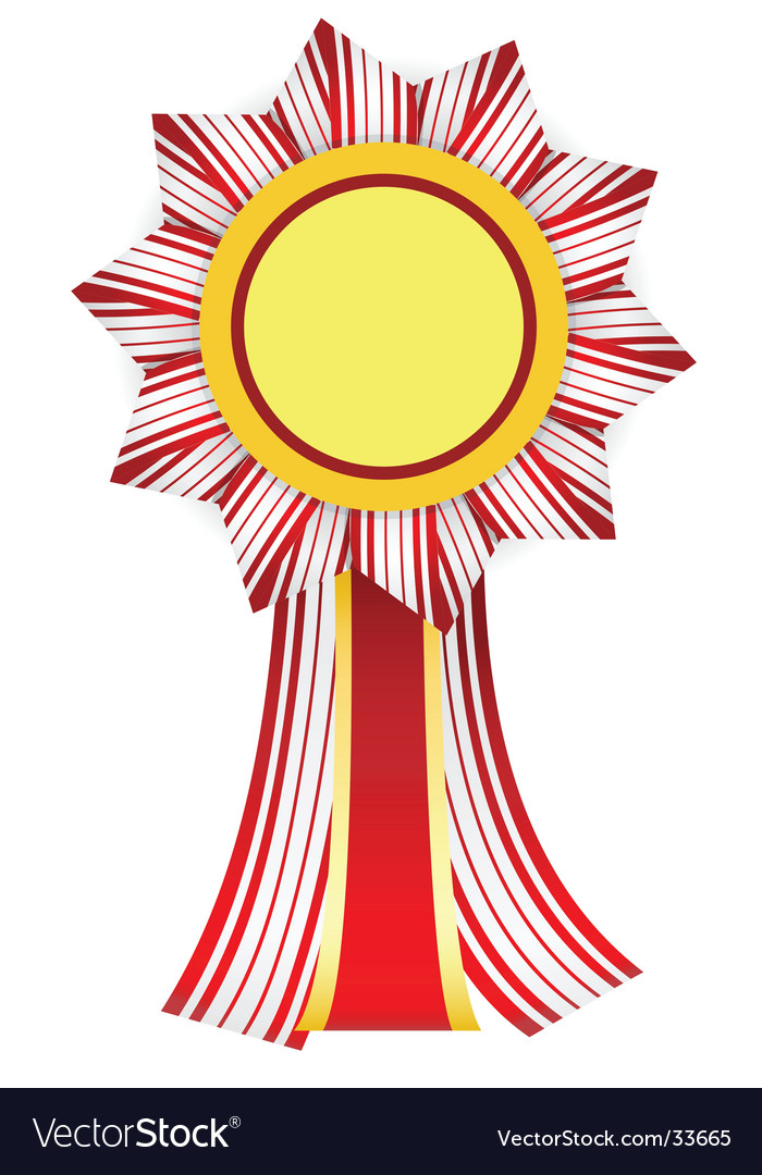 Red-white badge with yellow center vector | Price: 1 Credit (USD $1)
