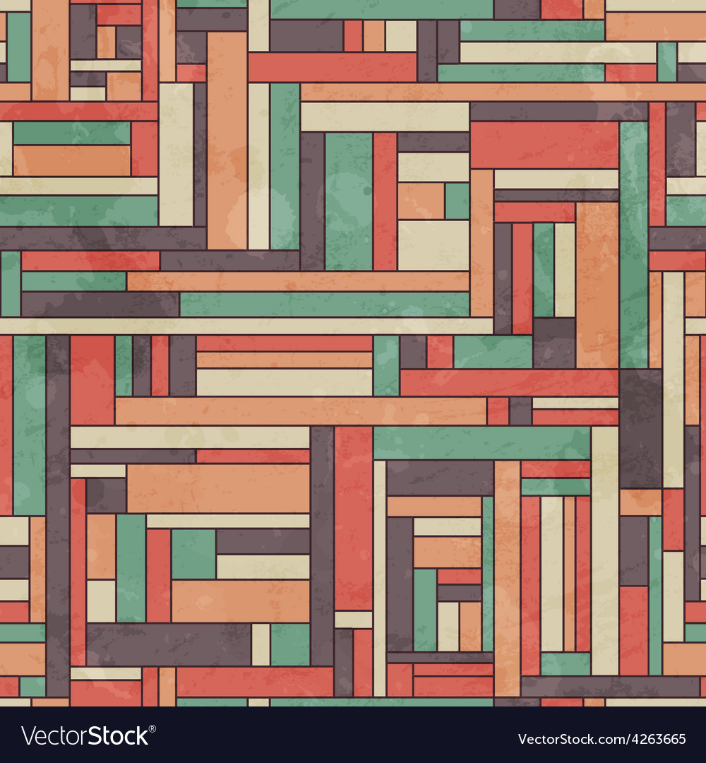 Retro square seamless pattern with grunge effect vector | Price: 1 Credit (USD $1)