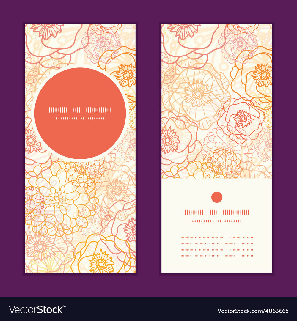 Warm flowers vertical round frame pattern vector | Price: 1 Credit (USD $1)