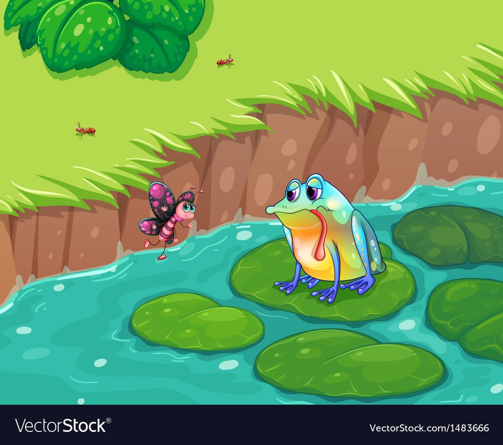 A hungry frog looking at the butterfly vector | Price: 1 Credit (USD $1)