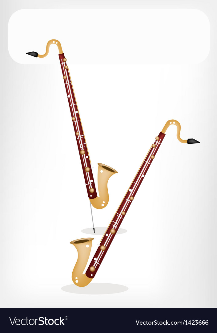 A musical bass clarinet with a white banner vector | Price: 1 Credit (USD $1)