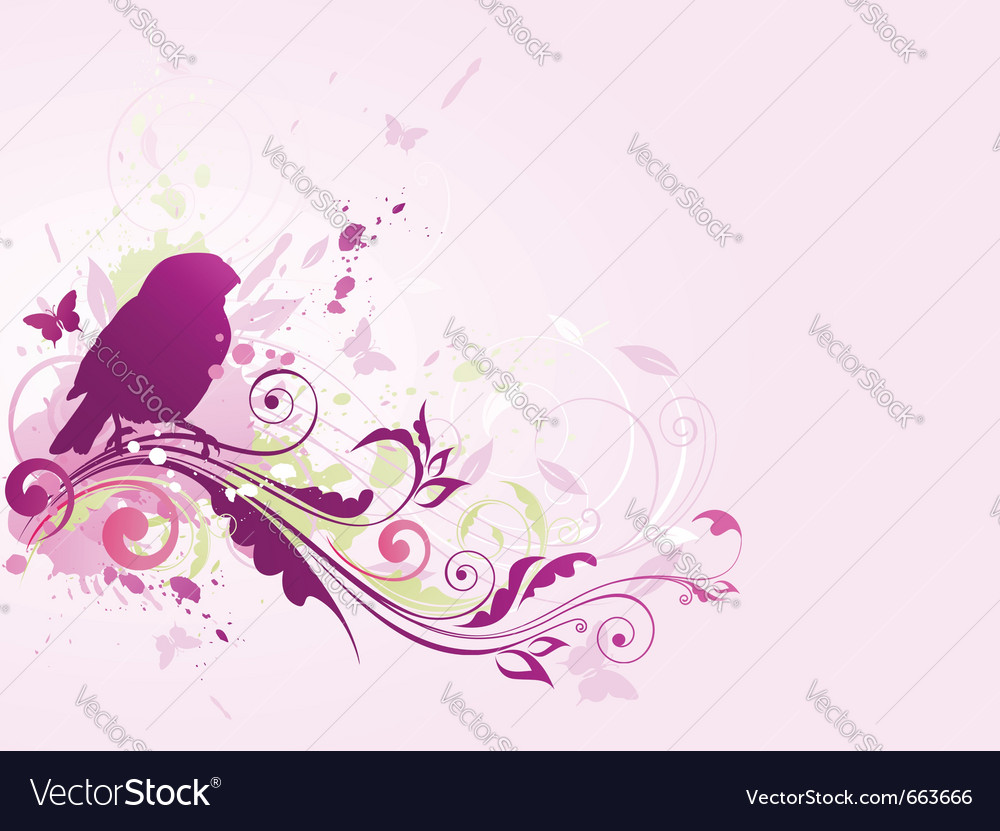 Abstract background with bird and floral ornament vector | Price: 1 Credit (USD $1)