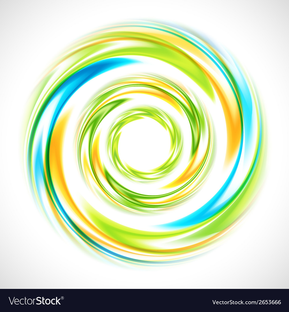 Abstract blue green and yellow swirl circle bright vector | Price: 1 Credit (USD $1)