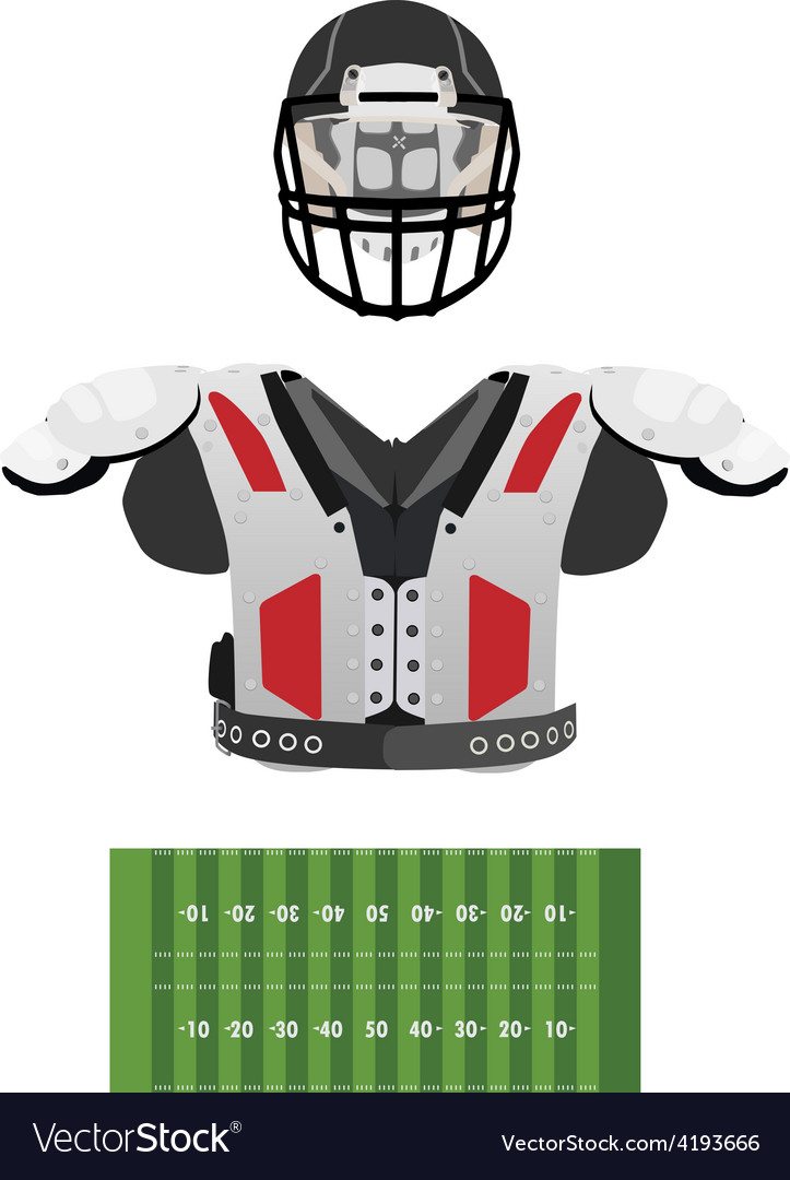 American football field helmet and armour vector | Price: 1 Credit (USD $1)