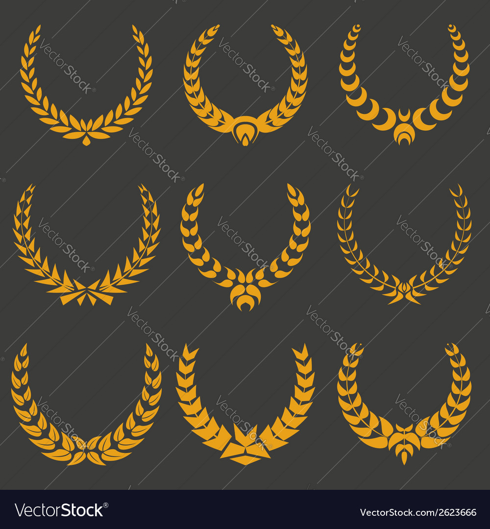 Set of monochrome wreaths vector | Price: 1 Credit (USD $1)