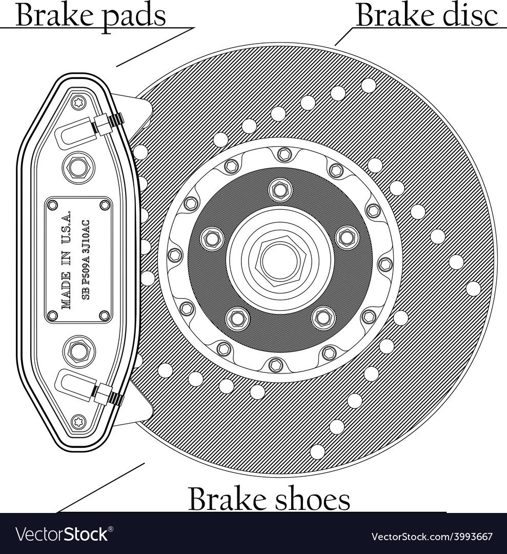 Brake disc with caliper vector | Price: 1 Credit (USD $1)