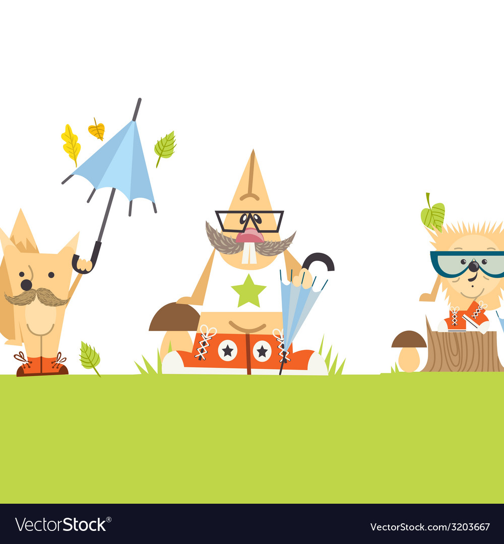 Cartoon animals hipster style vector | Price: 1 Credit (USD $1)