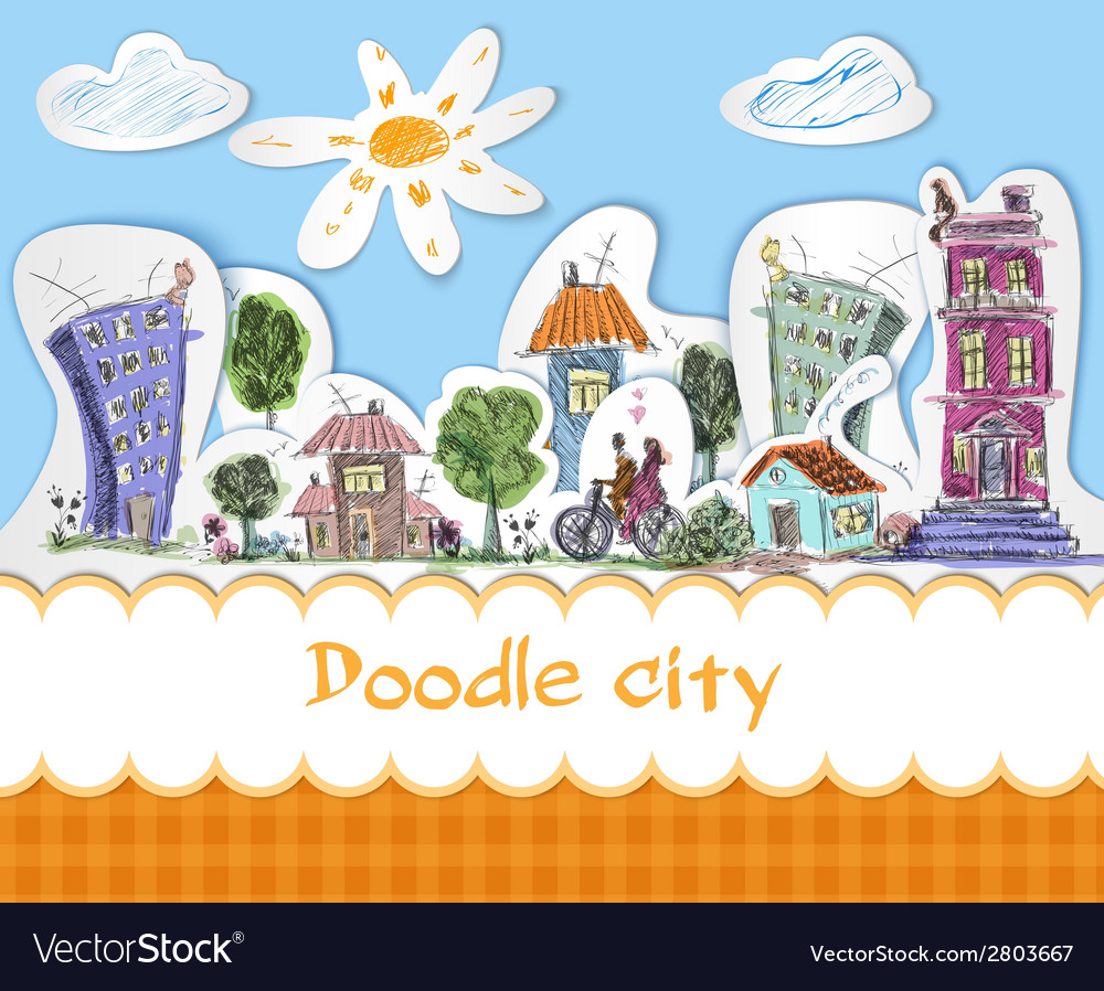 City doodle poster vector | Price: 1 Credit (USD $1)