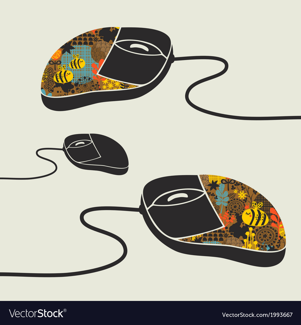 Computer mouse decorated with design print vector | Price: 1 Credit (USD $1)