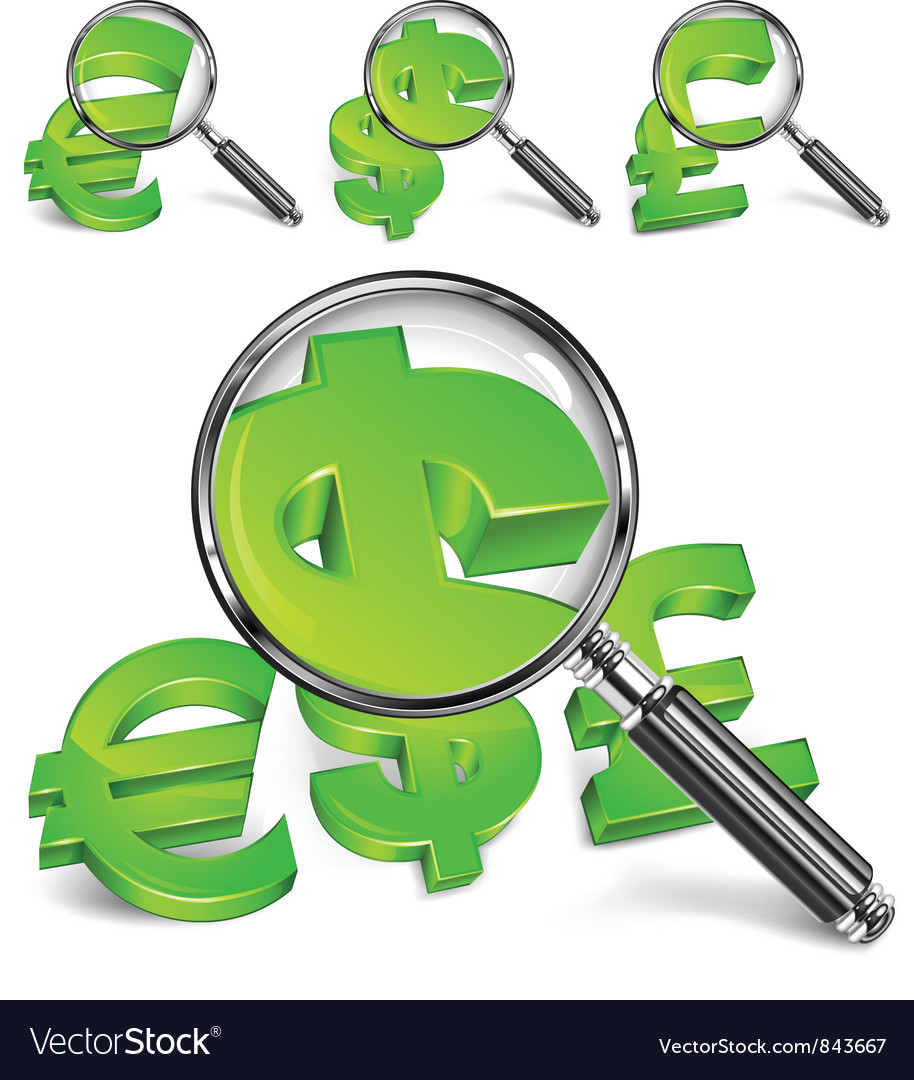 Dollar sign magnified green vector | Price: 3 Credit (USD $3)