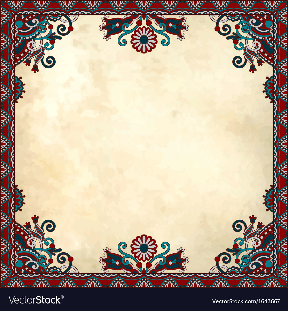 Flower frame design on grunge background vector | Price: 1 Credit (USD $1)