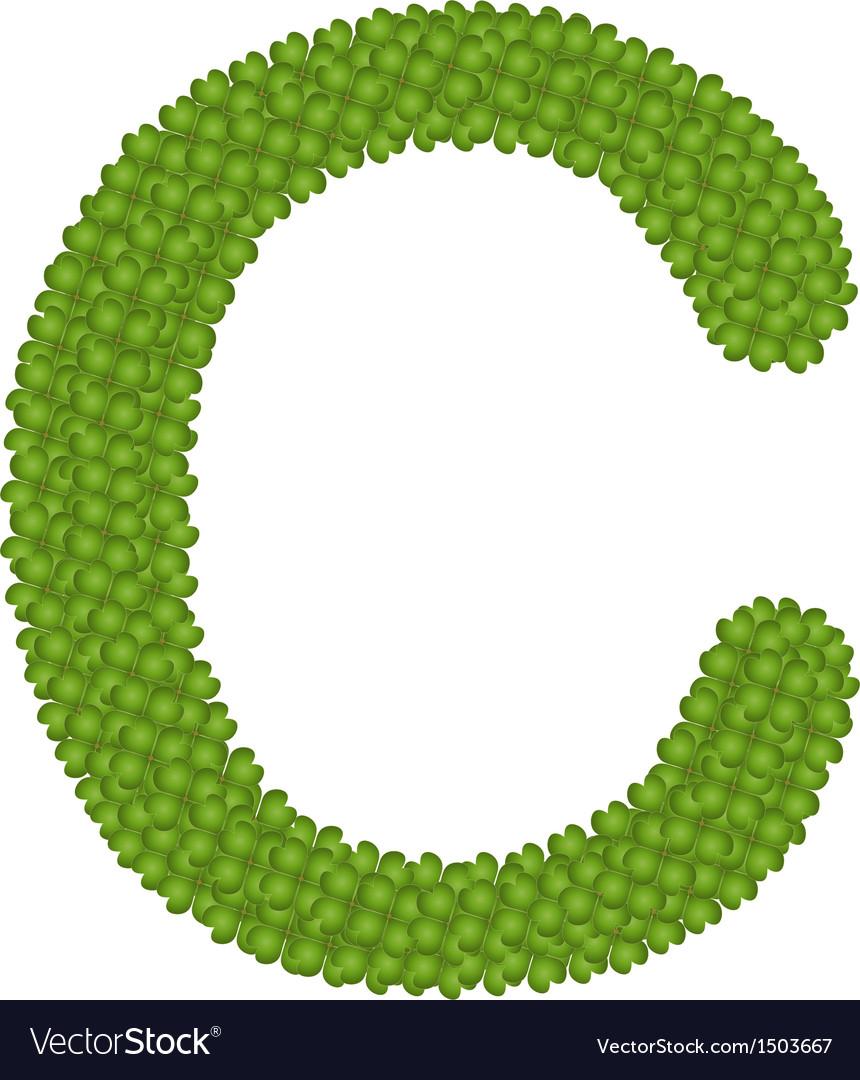 Four leaf clover of alphabet letter c vector | Price: 1 Credit (USD $1)