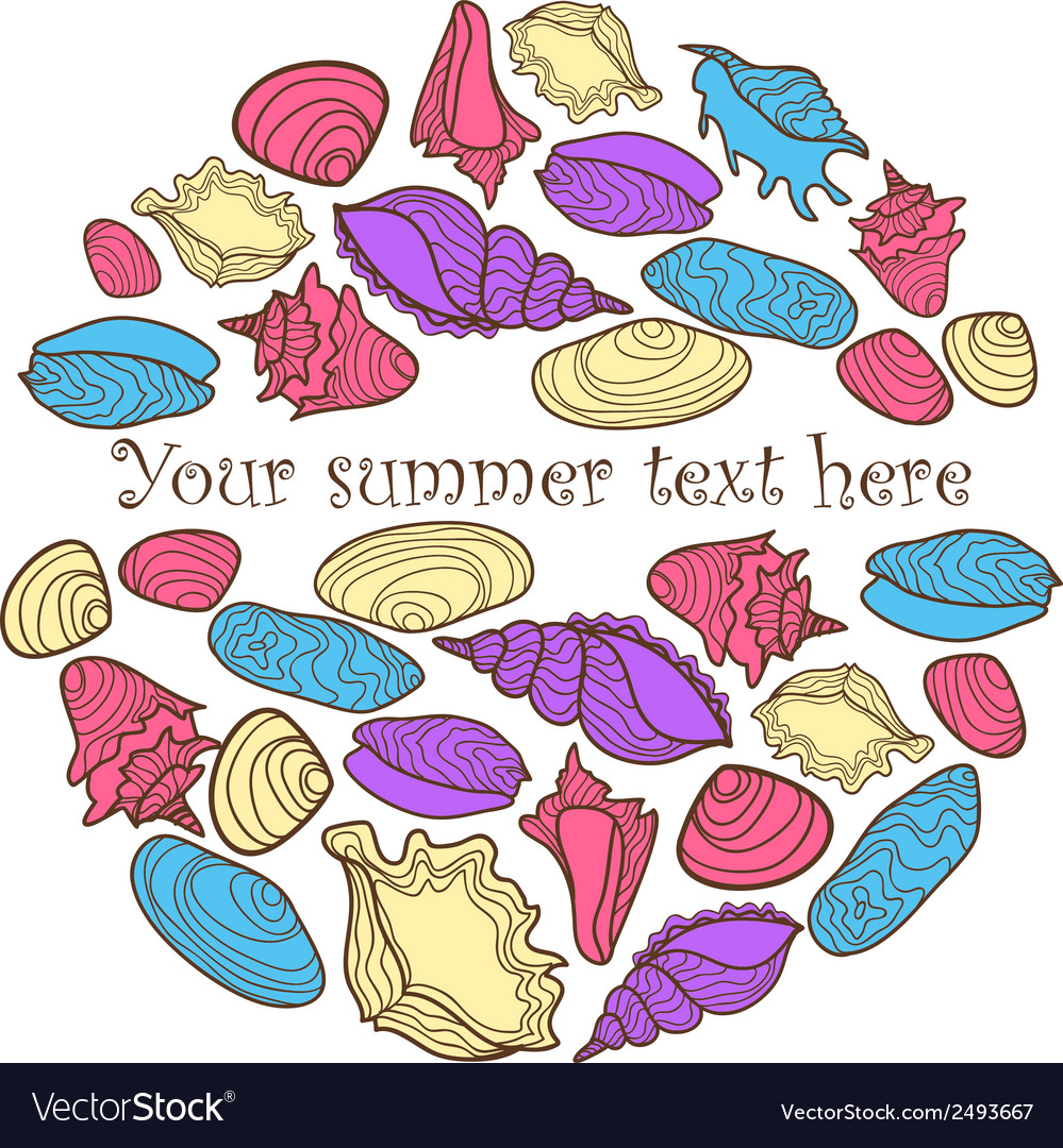 Hand drawn colorful background with seashells and vector | Price: 1 Credit (USD $1)