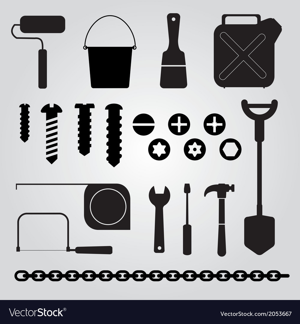 Hand tools set of icons vector | Price: 1 Credit (USD $1)