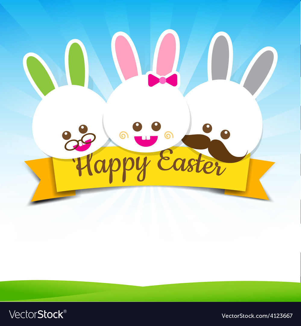 Happy easter rabbit bunny text with ribbon on vector | Price: 1 Credit (USD $1)